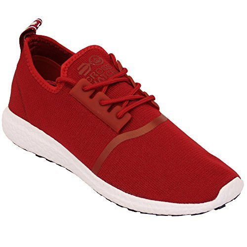 Baskets Hommes Crosshatch Lacet Course Gym Maille Chaussures Plates Baskets Sport Rouge - ENIGMA17