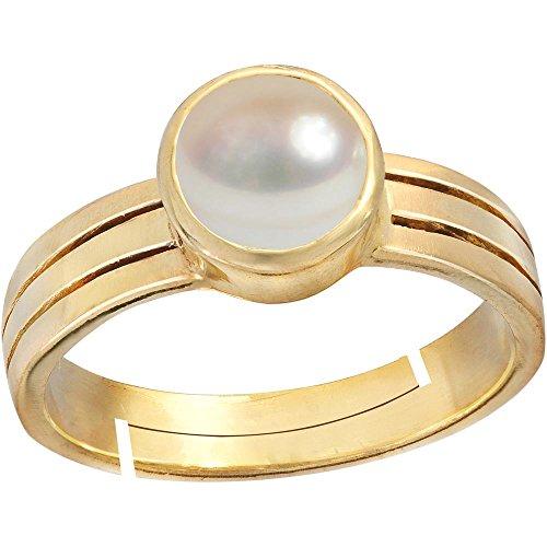 Gemorio Pearl Moti 5.5cts or 6.25ratti stone Panchdhatu Adjustable Ring For Men