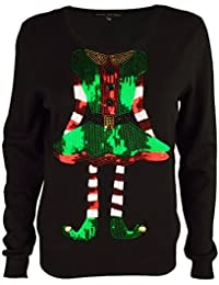 Heart & Soul Women's Sequin Knitted Christmas Jumper Miss Elf Or Miss Claus Top