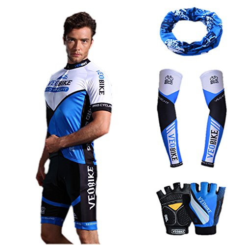 Asvert Malliot de Ciclismo Hombre 3D Cojín Manga Corta Jersey + Pantalones Ropa de Bicicleta Verano Conjunto Ciclista Elástica Equipación Bicicleta Transpirable (Azul, L)