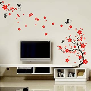 Walplus 200x110 cm Wall Stickers Stylish Cherry Plum Blossom Flowers and Butterflies Removable Self-Adhesive Mural Art Decals Vinyl Home Decoration DIY Living Bedroom Office Décor Wallpaper Kids Room Gift, Multi-colour