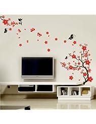 Walplus Stylish - Pegatinas decorativas, diseño de cerezos en flor y mariposas