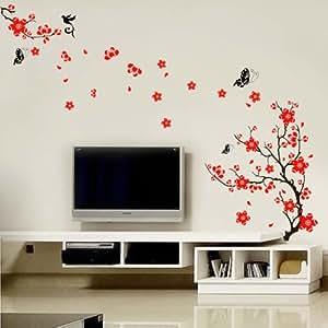 Walplus - Adesivo da parete con fiori di ciliegio e farfalle