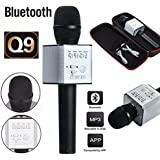 Zagmagat 2017 Q9 Portable Multi-function Wireless / Bluetooth Karaoke Microphone . Handheld Condenser Microphone With Bluetooth Speaker For IPhone IPad IPod And All Smartphone , Laptops & Computers (multi Color)
