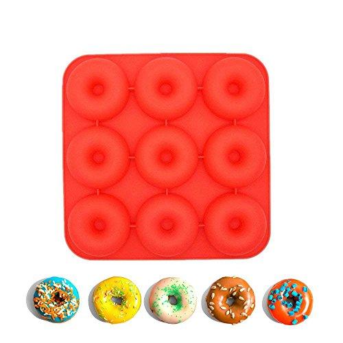 Umiwe Donut Pfanne, 9-Cavity Antihaft-Donut-Form, Fda-Standard-Silikon-Donut-Backform - Geschirrspüler, Backofen, Mikrowelle, Gefrierschrank sicher