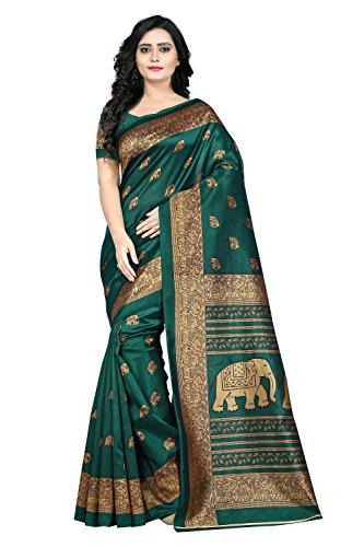 Jaanvi Fashion Women\'s Art Silk Elephant Motifs Kalamkari Printed Saree (Green)