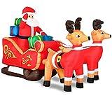 Monzana Aufblasbarer Weihnachtsmann mit Schlitten | Nikolaus Rentiere Weihnachten | Santa Claus Deko LED Beleuchtet