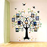 Svsnm 1 Satz Große 240Cm / 80 Zoll Familienstammbaum-Bilderrahmen Abnehmbare Wandaufkleber Liebe Baum Liebe Dich Für Immer Vogel Schmetterling Aufkleber