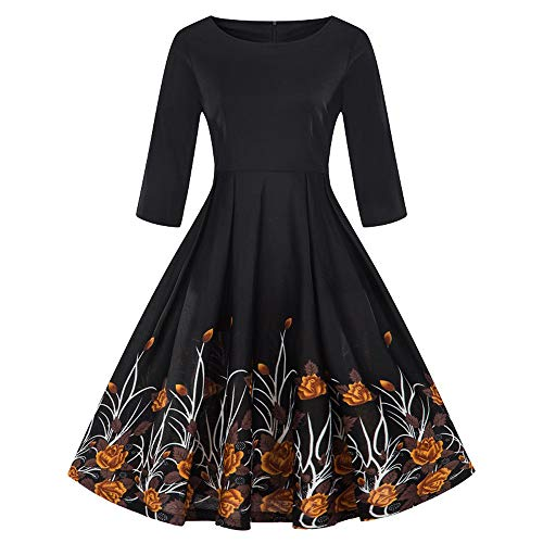 SANFASHION 2018 Damen Vintage 3/4 Arm Rockabilly Kleid Abendkleid Cocktailkleid geblümt Knielang Gr.S-4XL