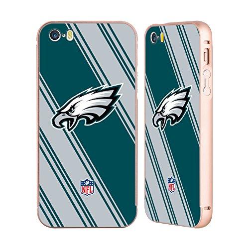 Ufficiale NFL Pattern 2017/18 Philadelphia Eagles Oro Cover Contorno con Bumper in Alluminio per Apple iPhone 5 / 5s / SE Righe