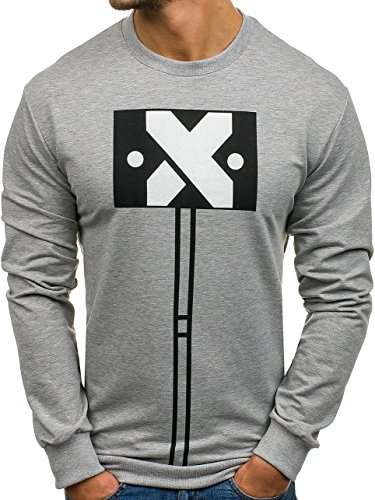 BOLF Herren Sweatshirt Langarmshirt Pullover Pulli Army Classic 1A1 Motiv Grau_0387