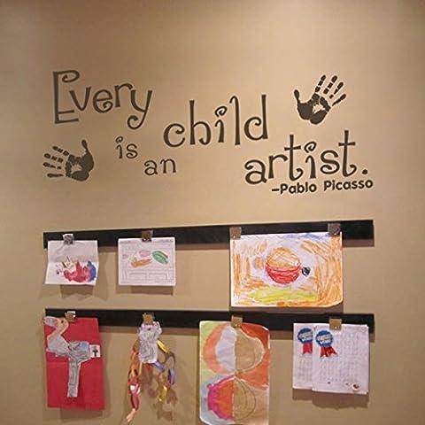 Cada niño es un artista Picasso de juegos de los niños etiqueta de la pared ilustraciones de citas de cuarto de niños pegatinas de pared carril, vinilo, Custom,