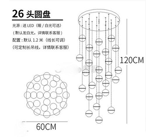 Antik Weiß Deckenventilator (GUG-Kronleuchter @ Nordic Meteorit Dusche Kronleuchter Kreative Kristall Glas Schmuck Moderne Kristall Half-Stroke einzigen Kopf LED-26 Crystal Ball (Runde Basis))