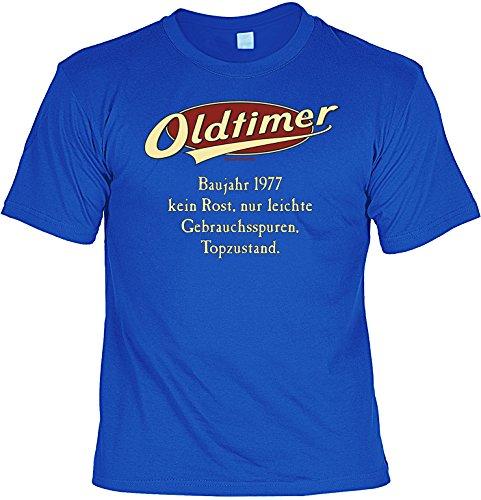 T-Shirt 40.Geburtstag Geschenkset : Baujahr 1977 - 40 Jahre -- Set Goodmann ® mit Mini T-Shirt für Flaschen Royal-Blau