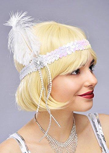 Womens 1920er Jahre White Feather Flapper (Kostüm Moll Gangster Womens)