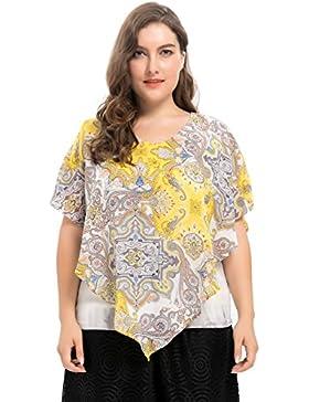Chicwe Blusas Tops con Capas Tallas Grandes Mujeres Camiseta Estampado de Estilo Tie Dye 1X-4X