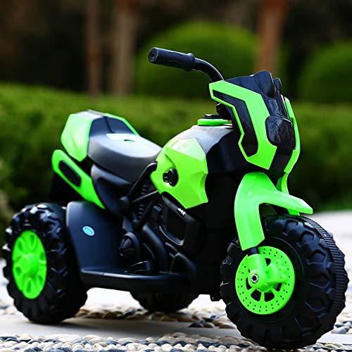 MEILA Kinder elektrische Motorrad Dreirad Lade 1-7 Jahre alte Männer und Frauen Baby Kind Spielzeug Kinderwagen sitzen Menschen 6V Akku Scheinwerfer und Musik (Color : Green)