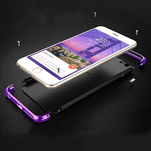 """iPhone 6S Coque , SHANGRUN Aluminium Metal Frame Bumper Coque + PC Matériel Protictive Couvercle housse Etui Protection Case pour iPhone 6 / 6S 4.7"""" Violet Noir+Rouge"""