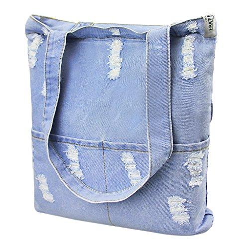 Liying Neu Einkauftasche Denim Umhängetasche Handtasche Schultertasche Trage Tasche Messenger Bag Beuteltote Türkis -