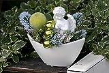 Adventsgesteck Nr.32 weiße Schale mit Engel und Glitzerapfel Weihnachtsgesteck, Wintergesteck, Advent Adventskranz