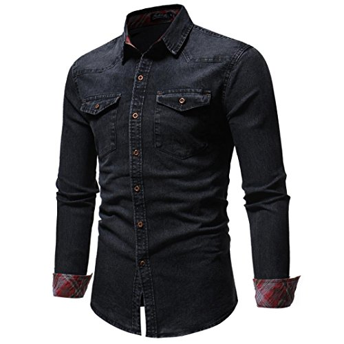 Kanpola Herren Hemd Männer Regular Fit Langarmshirt Freizeithemd Für Business Hochzeit Freizeit Mantel Outwear Button-Down Jeanshemd Denim Hemden
