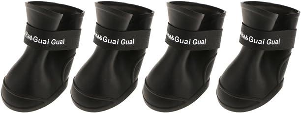 Magideal Set of 4pcs Pet Dog Puppy Cat Waterproof Rain Snow Rubber Outdoor Boots, XXL (Black, 3f95719a2e56fc1ef137a138744bdf91)