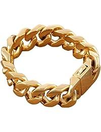 Felix Perry construcción de hombre y correa de acero inoxidable cadena Link Golden pulido 22 cm