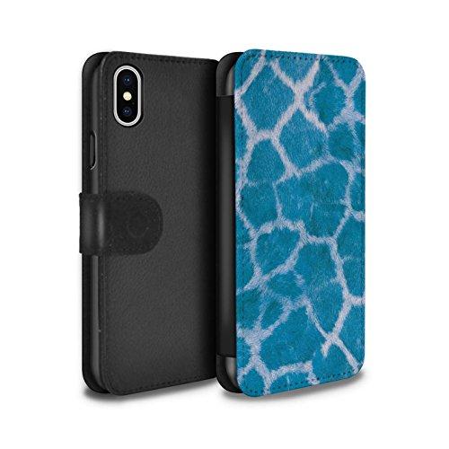 Stuff4 Coque/Etui/Housse Cuir PU Case/Cover pour Apple iPhone X/10 / Rose Design / Girafe animale Peau/Motif Collection Bleu