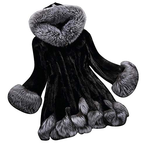 Cappotto da donna cappotto in pelliccia sintetica - pelliccia di visone con pelliccia di visone, lunghezza media, cappotto di pelliccia sottile con cappuccio