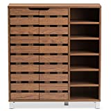 Baxton Studio Eloise Moderne & Moderne Holz Buchenholz 2tür Schuhschrank mit offenen Regalfächern, Walnuss
