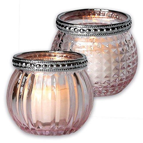 NEU Glas-Windlicht Teelichthalter in Rosé 2er-Set mit Streifen-, Rautenmuster