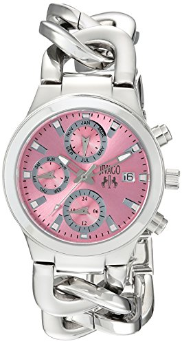 JIVAGO WOMEN'S 34MM STEEL BRACELET & CASE SWISS QUARTZ PINK DIAL WATCH JV1245