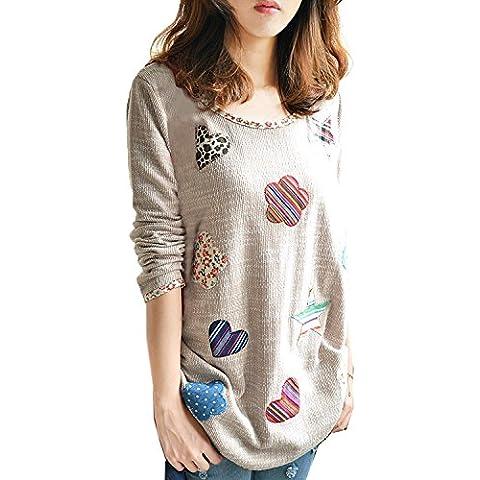 Minetom Mujeres Moda Suéter Estilo Casual Camisas Cuello Redondo Sweatshirts Blusa Tops