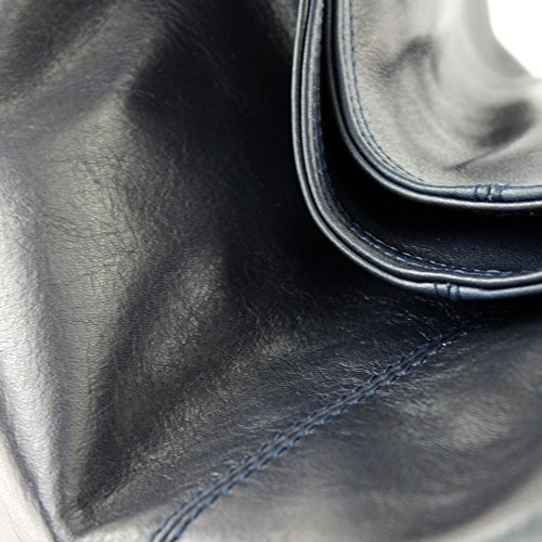 modamoda de - ital. Ledertasche Damenhandtasche Schultertasche Damentasche Nappaleder DS26 Dunkelblau