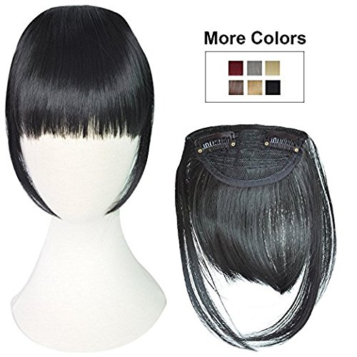 Synthetic Front hair fringes extensions for women (Black)