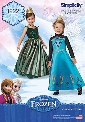 Simplicity 1222Größe A Frozen Krönung Tag Kostüme für Kinder Schnittmuster, mehrfarbig