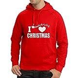 lepni.me Sweatshirt à Capuche Manches Longues J'adore Noël - Tenues de Noël, Père Noël et les Rennes (X-Large Rouge Multicolore)