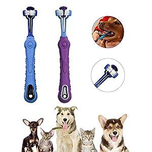 Brosse à dents pour animaux de compagnie pour chats à trois faces, triple tête, mauvaise haleine, soin des dents Tartare, meilleur outil de nettoyage dentaire pour chiens, bouche de chat, lot de 2