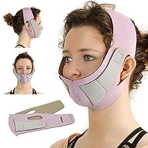 Gesichtsformer Anti-Falten Maske - für Gesicht und Kinn, reduziert & formt Doppelkinn, strafft Haut für ein junges Aussehen - Damen Gesichtformer Gürtel, Pflege Bänder