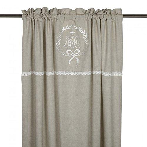 Gardinenschal Vorhang 'Emmy' 2er Set 120 x 240 cm (BxH) bestickt mit Spitze und Monogramm beige...