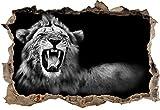 Monocrome, Dark Brüllender Löwe Schwarz/Weiß Wanddurchbruch im 3D-Look, Wand- oder Türaufkleber Format: 92x62cm, Wandsticker, Wandtattoo, Wanddekoration