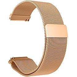 For Fossil Q Straps Replacement Accessories, Chofit 18mm Milanese Loop Stainless Steel Mesh Metal Strap With Strong Magnetic Clasp For Fossil Q Venture Gen 3 Smartwatch (Rose Gold)