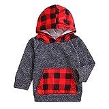 Jungs Tops, Fenverk Kind MäDchen Mode SpleißEn Plaid Kapuzenpullover Tasche FrüHling Winter Warm Sweatshirt Zur Seite Fahren Kleinkind Baby Kleider(rot,3-4 Jahre)