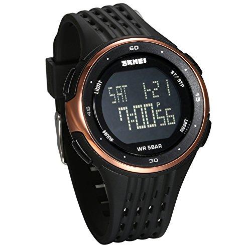 Jewelrywe orologio sportivo digitale per uomo, doppia ora dual time dorado grande orologio, 5atm impermeabili orologi da esterno, regalo per ragazzi adolescenti