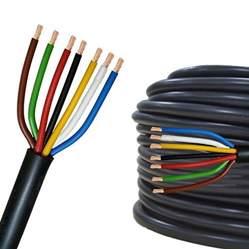 Câble multiconducteur pour l'automobile / remorque 5m, 10m, 20m ou 50m choix: (5m mètre, 7 fils 7 x 1.0 mm² câble cylindrique)