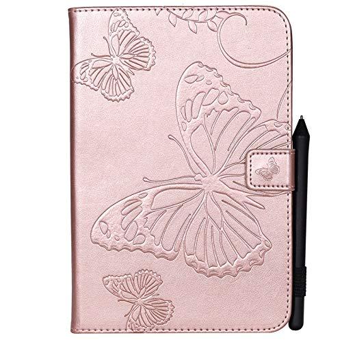 metterling Blumenmuster PU-Leder-Mappe Anti-Kratzschutz-Schutzhülle für iPad Mini 1/2/3/4, mit Kartensteckplatz-Kartenhalter (Farbe : Roségold) ()