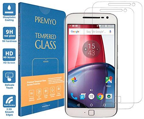 PREMYO 2 Stück Panzerglas Schutzglas Bildschirmschutzfolie Folie kompatibel für Motorola Moto G4 Plus Blasenfrei HD-Klar 9H Gegen Kratzer Fingerabdrücke