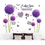 Marco de fotos de flores de diente de león púrpura adhesivo de pared Home Decor vinilo adhesivo extraíble, para dormitorio salón, Morado, 40*60cm