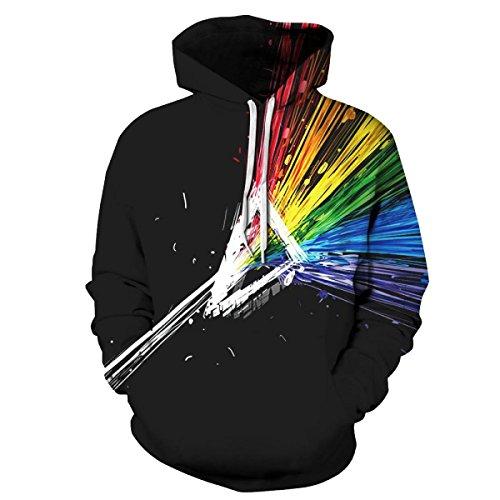 Sweatshirt Hoodies 3D Imprimer Cordon À Capuche À Manches Longues Casual Jumper Avec Grande Poche Pour Hommes Femmes Couples Black