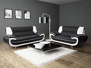 Lewis Black & White PU Leather 3+2 Seater Sofa Suite